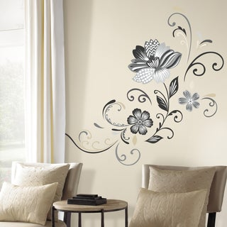 Black and White Flower Scroll Peel and Stick Giant Wall Decals