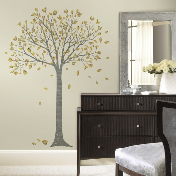 golden leaf tree peel and stick giant wall decals. Black Bedroom Furniture Sets. Home Design Ideas