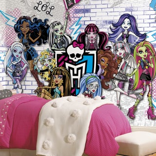 Monsters High XL Chair Rail Prepasted 6 x 10.5-foot Ultra-Strippable Mural