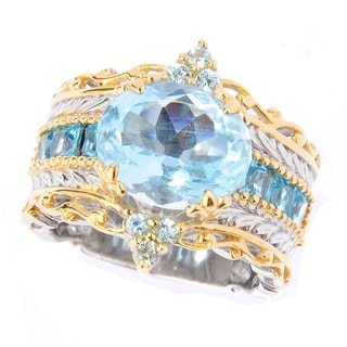 Michael Valitutti Aquamarine and Blue Zircon Ring