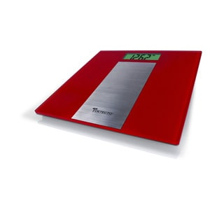 Detecto Red Glass and Stainless Steel LCD Digital Bathroom Scale