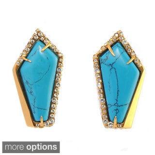 De Buman 18k Yellow Goldplated or 18k Rose Goldplated Irregular Pentagon Turquoise Earrings