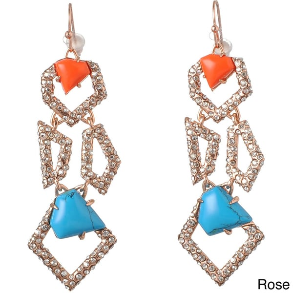 De Buman 18k Yellow Goldplated or 18k Rose Goldplated Irregular Polygon Turquoise & Red Coral Earrings