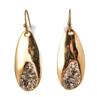 De Buman 18k Rose Goldplated or 18k Yellow Goldplated White Czech Dangle Earrings