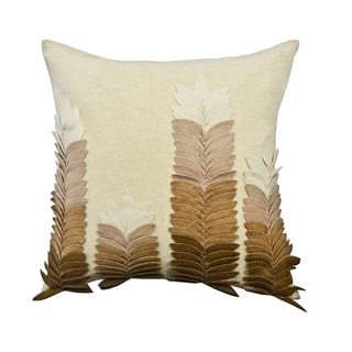 Beige/ Brown Felt Leaves Applique Throw Pillow