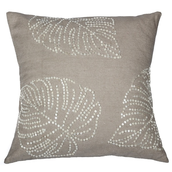 Handcrafted Cream Cotton 18-inch Leaf Pattern Sequin Throw Pillow