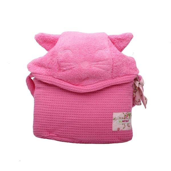 Minene Cuddly Pink Kitty Cat Baby Bath Towel