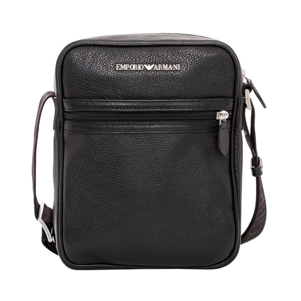 Emporio Armani Black Tumbled Leather Messenger Bag