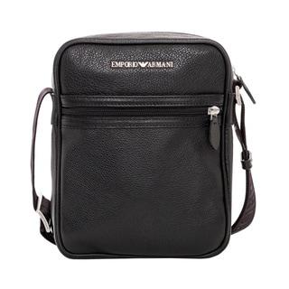 Emporio Armani Black Tumbled Leather Messenger Bag