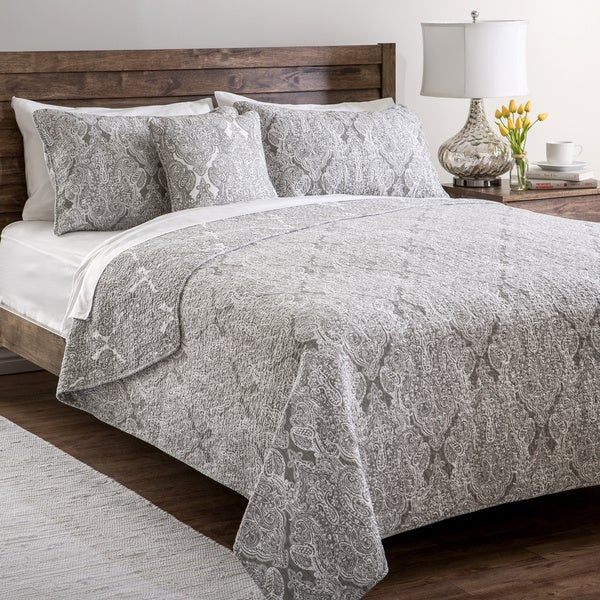 Paisley Cotton 4-piece Quilt (King) Set (As Is Item)