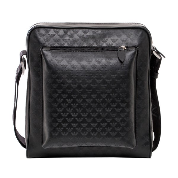 Emporio Armani Black Logo-jacquard Leather Messenger