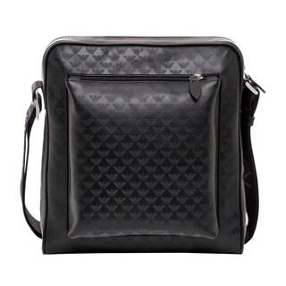 Emporio Armani Black Logo-jacquard Leather Messenger