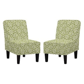 angelo:HOME Jules Lorin Square Mossy Green Armless Chair Set with Pillows (Set of 2)
