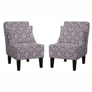 angelo:HOME Jules Lorin Square Lavender Field Armless Chair Set with Pillows (Set of 2)s Chair Set with Pillows (Set of 2)