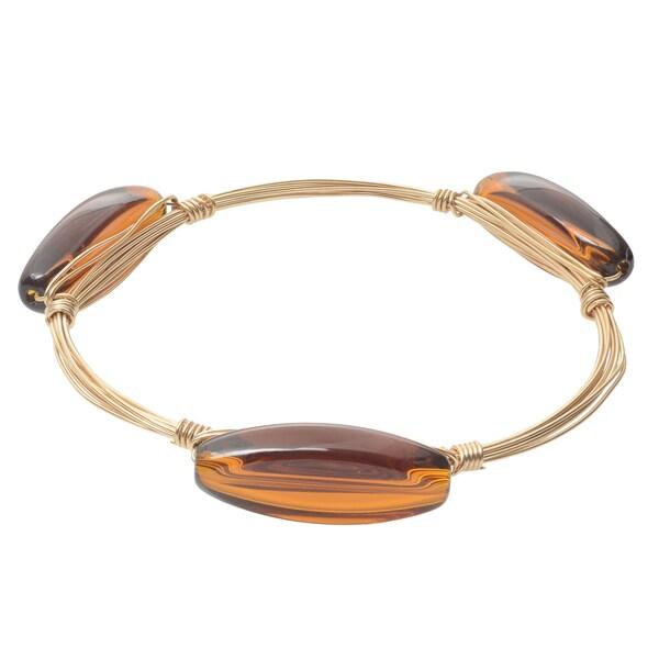 Journee Collection Brass Bangle Glass Stone Bracelet
