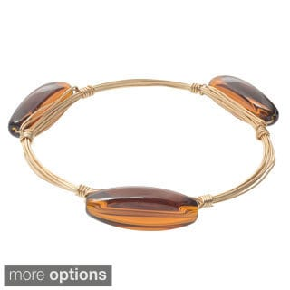 Journee Collection Brass Bangle Glass Stone Bracelet