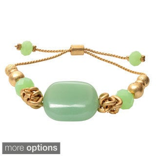 Journee Collection Brass Natural Stone Bead Pull-tie Bracelet