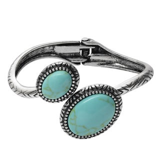 Journee Collection Brass Faux Turquoise Hinged Bracelet