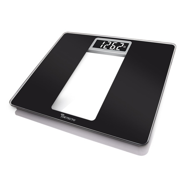 Detecto Black Glass LCD Digital Wide Body Bathroom Scale