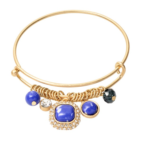 Journee Collection Brass Cubic Zirconia Natural Stone Bangle Charm Bracelet