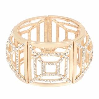 Journee Collection Brass Cubic Zirconia Stretch Fashion Bracelet