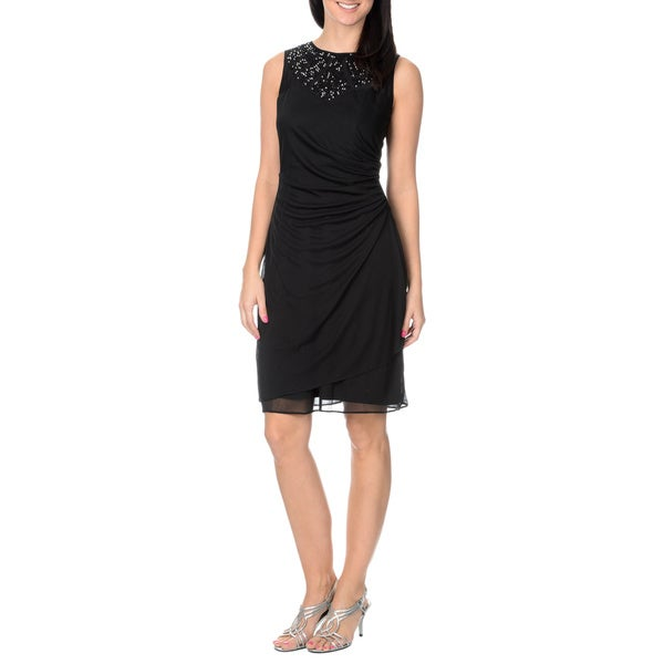Cachet Women's Black/ Silver Mesh Overlay Sheath Dress