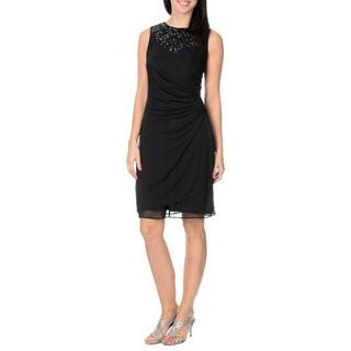 Cachet Women's Black/ Silver Mesh Overlay Sheath Dress