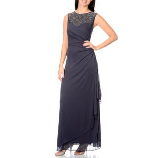 Cachet Women's Charcoal Gather Side Gown