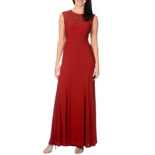 Cachet Women's Berry Brocade Style Gown