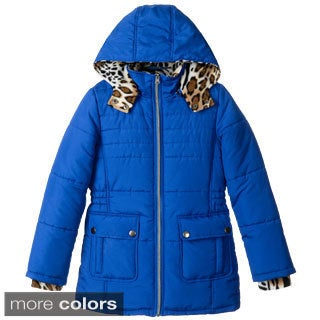 KC Collections Girl's (7-16) Leopard Print Lined Puffer Jacket