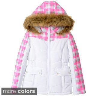 KC Collections Girl's (7-16) Plaid Yoke Jacket