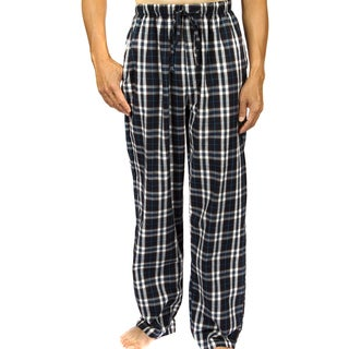 Leisureland Men's Navy Plaid Cotton Poplin Lounge Pants