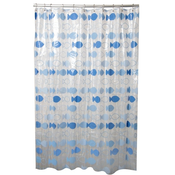 Let's Go Fishing Blue Shower Curtain