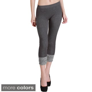 Women's Two-tone Shirring Capri Leggings