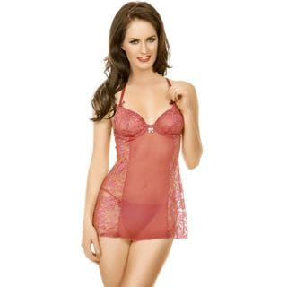 Popsi Lingerie Coral Mesh and Lace Babydoll with Matching Panty