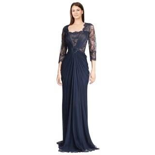 Tadashi Shoji Midnight Blue Silk Chiffon and Lace Evening Gown