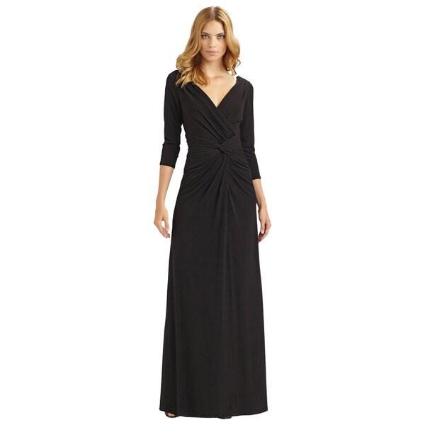 Tadashi Shoji Black Mid-sleeve Stretch Jersey Evening Gown