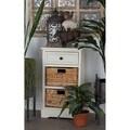 Wooden White 28-inch 2-basket Storage Cabinet