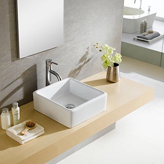 Somette Fine Fixtures White Vitreous China Square Vessel Sink