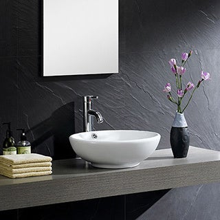 Somette Fine Fixtures Modern White Vitreous China Round Vessel Sink