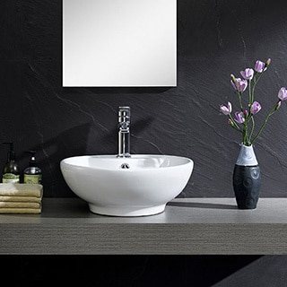 Fine Fixtures White Vitreous China Round Modern Vessel Sink