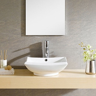 Somette Fine Fixtures Modern Vitreous China Square Vessel Sink