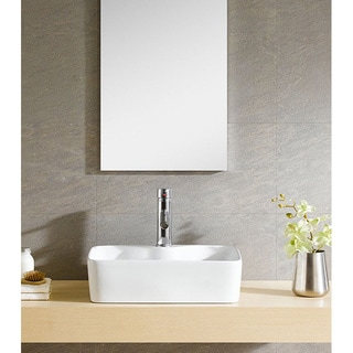 Fine Fixtures Modern White China Square Vessel Sink