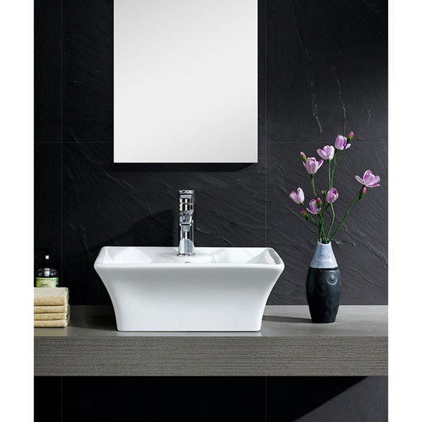 Somette Fine Fixtures White Vitreous China Concave Square Vessel Sink