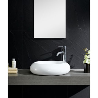 Fine Fixtures White Vitreous China Bulging Round Vessel Sink
