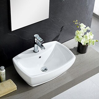 Somette Fine Fixtures White Vitreous China Modern Vessel Sink