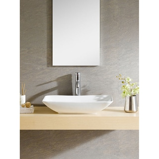 Somette White Vitreous China Rectangle Vessel Sink