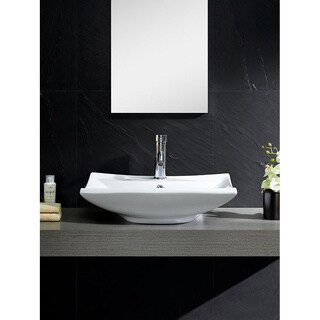 Vitreous China Beveled Rectangle White Vessel Sink