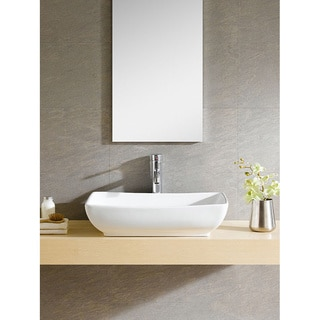 Somette Vitreous China Oblong White Vessel Sink
