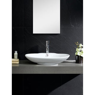Somette Vitreous China Low Oval White Vessel Sink